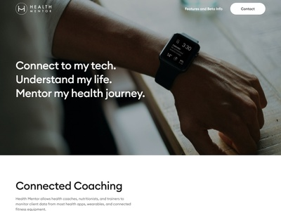 Health mentor fitness coaching tracking app smartwatch coaching fitness app concept landing page clean layout website web design ui  ux ui design