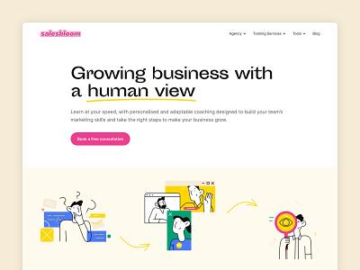 Salesbloom - hero coaching marketing agency marketing hero section clean layout website web design ui  ux ui design