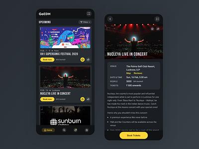 EDM event booking app #3 dark theme dark ui ui  ux music mobile app mobile event edm concert concept clean cards booking app design app