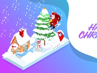 Isometric design vector illustration of christmas concept