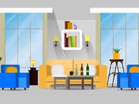 flat design illustration room