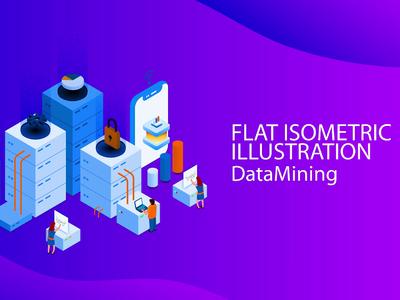 Isometric Flat Design Data Mining tutorial