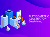 Isometric Flat Design Data Mining tutorial
