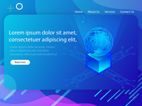Isometric Landing page UI design with abstract background