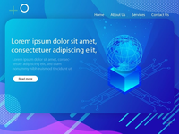 isometric Landing Page UI design of Artificial int