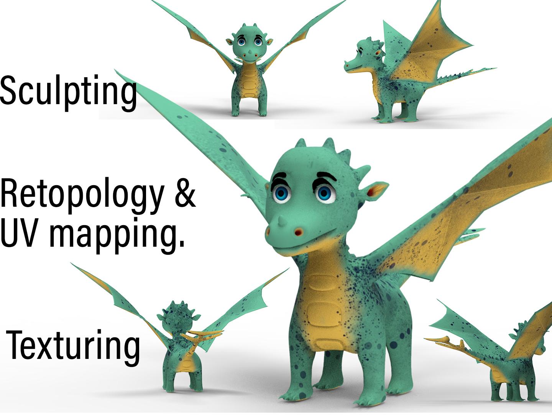 3D character design pipeline Dragon 3d by Joshuaprakash on
