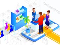 Illustrator tutorial Isometric Online Shopping