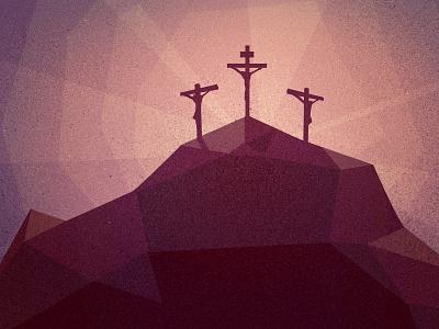 Golgotha crucifix cross purple poly christian jesus easter