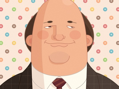 Kevin the office drawing vector illustration caricature character kevin