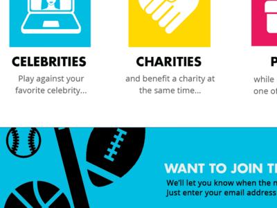 Fantasy Fundraising Landing Page futura cmyk sports oldwork flat fundraising fantasy