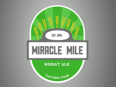 Miracle Mile Wheat Ale wheat sullivan street sign palm tree miami coral gables label bottle biltmore beer