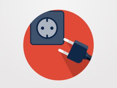 Plug it in! sketch grey red flat flat design plug