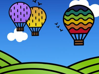 Hot Air Balloon Poster vector art sky grass hot air balloon goose creek tennessee