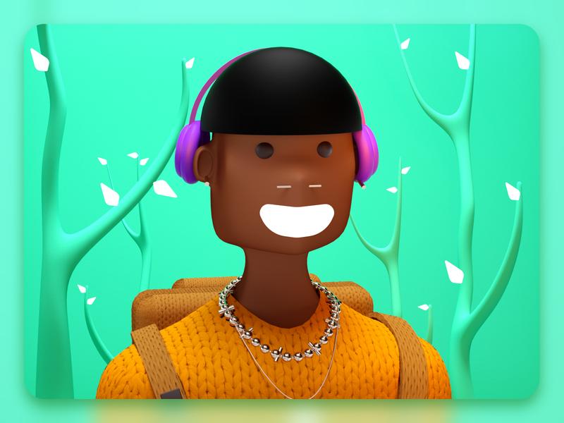 Ramdon Portrait 3d modeling 3d artist characterdesign characters designs green forest indigenous 3d illustration character design vector character design 3d illustration