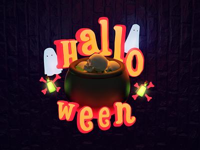 Halloween 2 green orange neon 3d art bones potion ghost halloween design 3d illustration