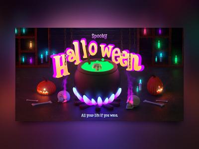 Spooky Halloween candle pumpkins chains halloween flyer potion 3d skull 3d 3d artist 3d art 3d pumpkin halloween design halloween