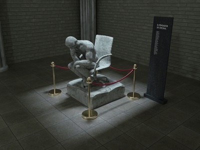 The Office Thinker blender cinema4d octanerender sculpture illustration 3d art cgi 3d