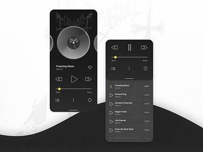 Music Player App Concept in dark theme interaction minimalism metal mayhem blackmetal dark theme dark black music player ux player music interface ui
