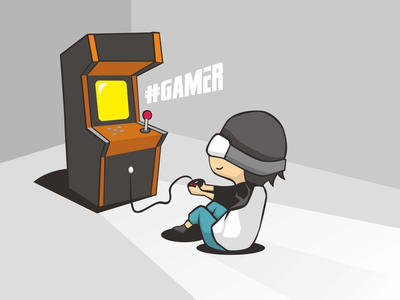 Gamer is playing ding dong illustration vector human work render blue person abstract concept cyborg doctor isolated cartoon business computer character illustration people white technology 3d robot