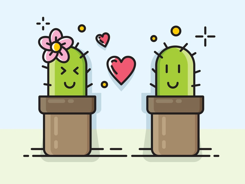 Two cactus who falling in love character vector word holiday garbage design bin recycling cartoon social icon happy recycle 3d illustration symbol business white concept green isolated sign