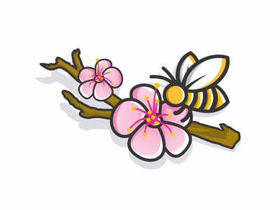 Bee on the flower and branch illustration vector flora petal blue card bouquet beautiful plant beauty bloom purple white blossom orchid floral pink nature spring isolated flowers flower
