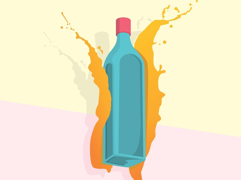 bottle with yellow splash and background vector blue hot bottles red sauce object celebration color beverage champagne liquid white beer wine isolated green drink alcohol glass bottle