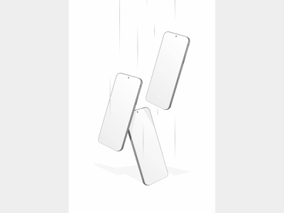 three smartphone fall from above white plain color vector business gadget technology communication white digital background design telephone isolated screen display blank device mockup cellphone smart smartphone mobile phone