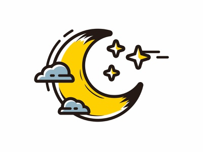 half moon with grey cloud and stars cartoon style vector astrology science lunar planet black bright blue light white dark crescent background astronomy moonlight half space moon nature night sky