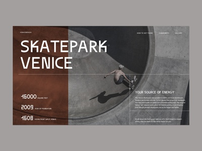 Concept of the skatepark webpage