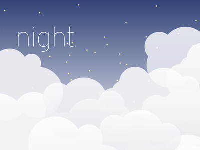Night illustration gradients stars clouds night