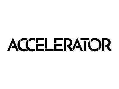 Accelerator lettering type accelerator logotype concept logo