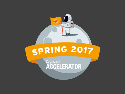 Spring 2017 astronaut moon space illustration vector sticker