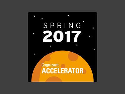 Spring 2017 moon space sticker vector illustration