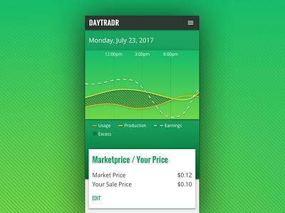 DAYTRADR app trading green graph visual design ui mobile