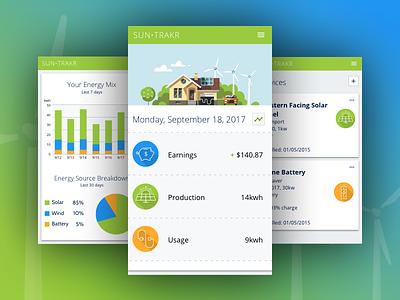 SUN•TRAKR solar energy app trading green graph visual design ui mobile