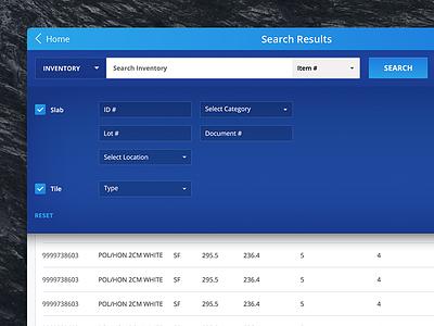 Advanced Search ipad visual design ui blue filter search