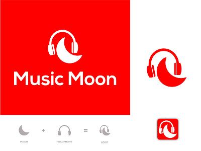 Music Moon Logo minimal logo branding music logo design music design music ui illustration design icon identity logo design logodesign dribbble logotype logo rakibul62 red logo music logos music moon music logo