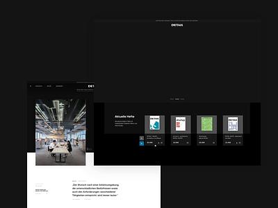 digital design language for DETAIL motion design animation flat grids typography dark webdesign ecommerce ui digital branding
