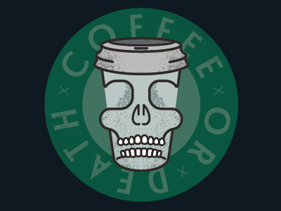 Coffee or Death society6 illustrator illustration death just for fun coffee typography