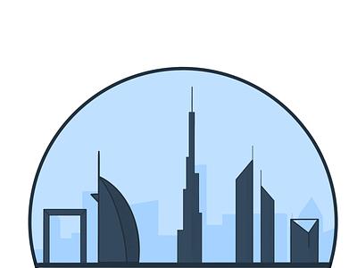 Dubai burj khalifa burj al arab procreate monument minimal design branding dubai flat illustration