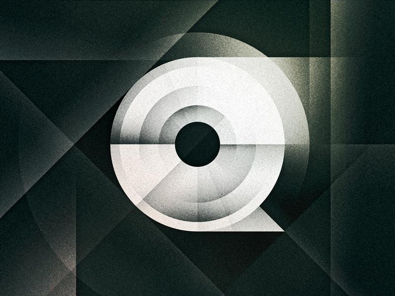 Q futurist art deco noir goodtype texture 36daysoftype drop cap letter illustrator typography lettering type vector illustration