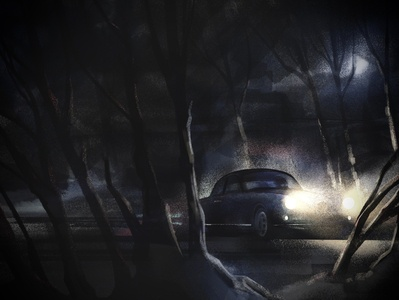 Night Drive (rework) dark trees forest alfa romeo car night drive noir procreate illustration