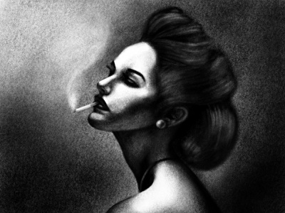noir lady illustration practice procreate drawing charcoal dark contrast noir smoking woman