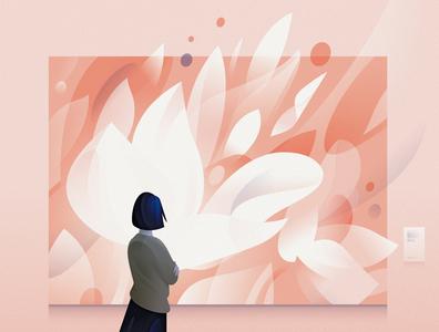 lost spring 1 design 2020 blue pink lost spring painting magnolia flowers art museum illustrator vector illustration