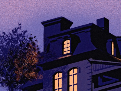 roof window dark evening dusk night tree mansard roof house ipad procreate illustrator illustration