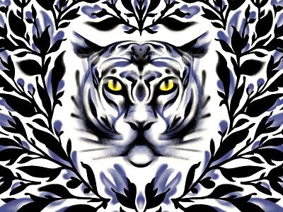 tiger procreate ornament flower bush forest wild nature cat tiger illustrator illustration