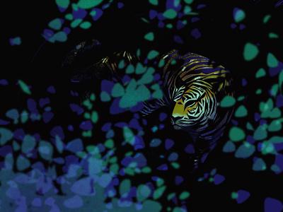 tiger hunt stalking leaves trees woods jungle forest ipad procreate illustrator illustration nature cat tiger