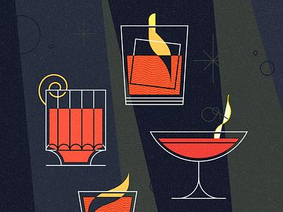 negroni week 3 campari orange negroni cocktail vintage retro midmod midcentury texture design illustrator vector illustration