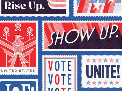 Rise Up, Show Up, Unite true grit texture supply print retro vintage biden harris 2020 kamala harris joe biden 2020 vote unite postage usps stamp illustrator vector illustration