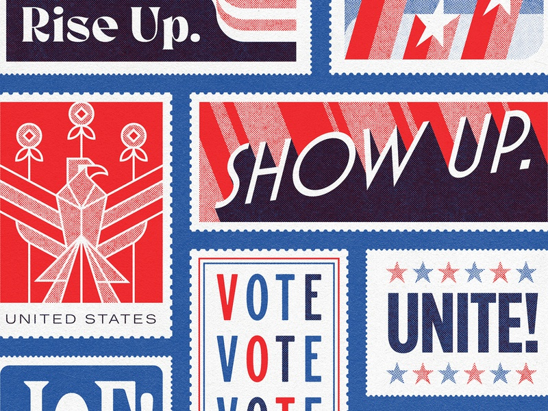 Rise Up, Show Up, Unite true grit texture supply print retro vintage biden harris 2020 kamala harris joe biden 2020 vote unite postage usps stamp illustrator vector illustration